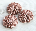 Set of 3 Nude Satin Puff Rolled Rosette Flowers